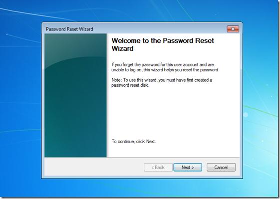 Password reset wizard Windows