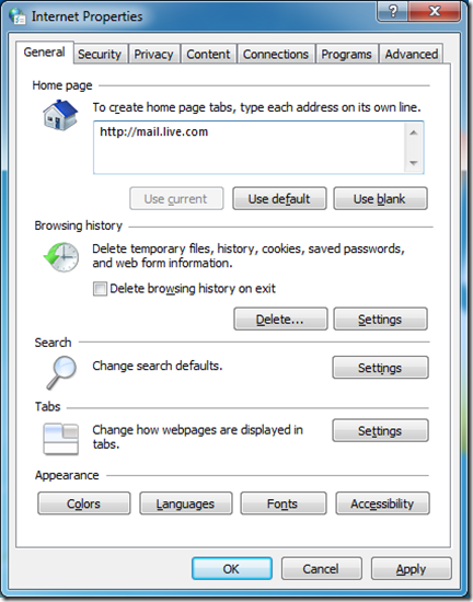Internet Explorer Options