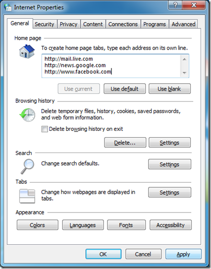 Home page tabs in Internet Explorer