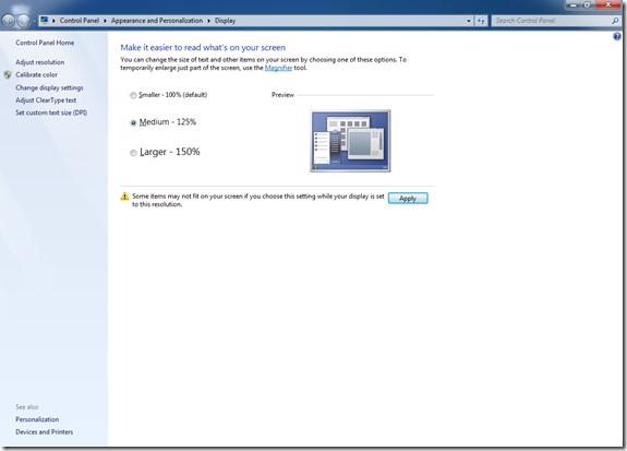 Windows 7 Text Options