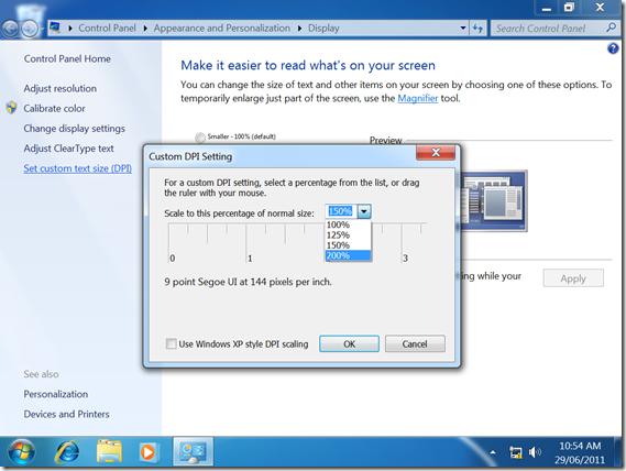 Windows 7 Scaling