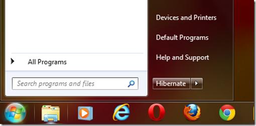 Windows 7 power button options