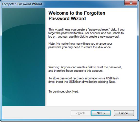 Forgotten Password Wizard
