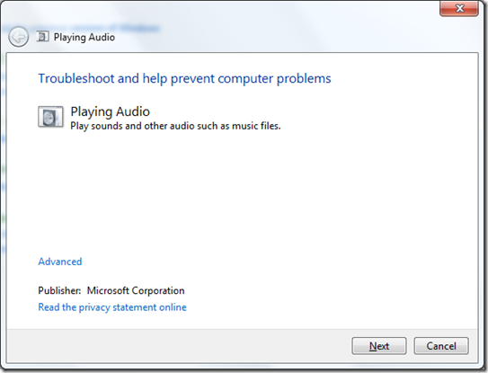 Windows Audio Troubleshooting