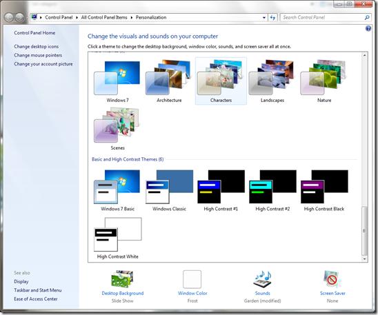 Windows 7 Personalization Settings