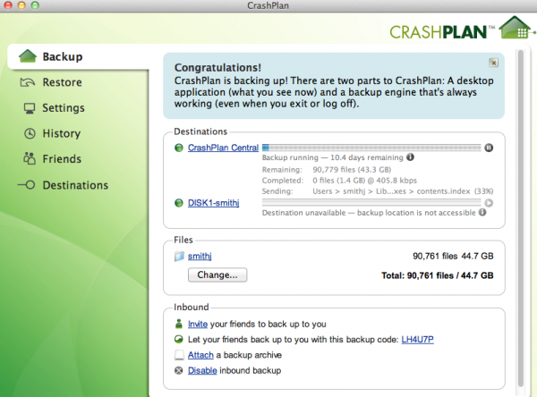 CrashPlan+ Review: Backup Online or With a Friend
