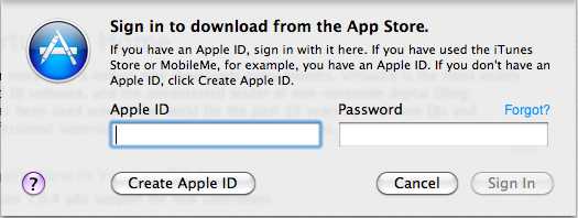 Mac App Store Login Screen