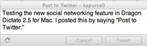 Dragon Dictate 2.5 will now update your twitter account.
