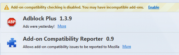 screenshot: Add-on compatibility is disabled. You may have incompatible add-ons.