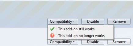 Firefox add-on Compatibility button dropdown