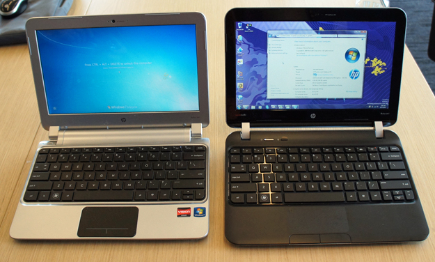 HP Pavilion dm1; first gen on the left, new model on the right