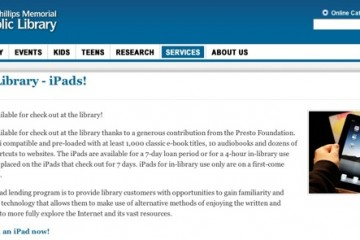 Eau Claire, WI public library iPad borrowing site