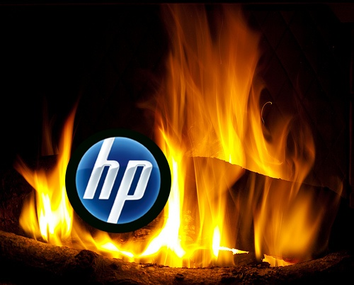 HP logo burning