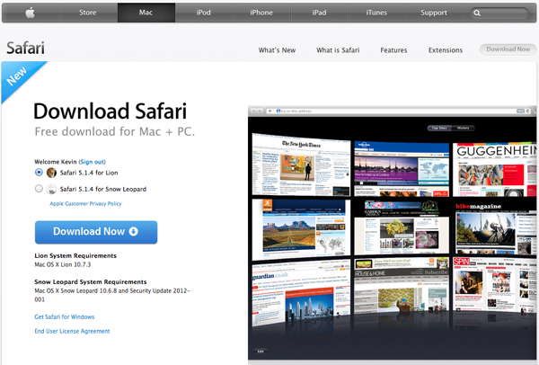 Safari Update to 5.1.4