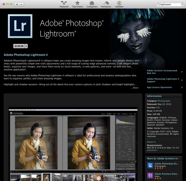 New Adobe Photoshop Lightroom 4 Available on Mac App Store