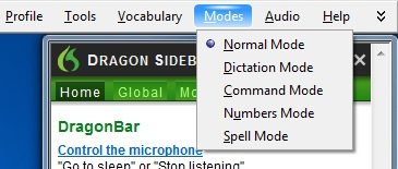 dragon dictation modes