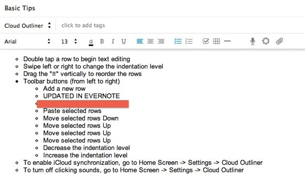 Outline in evernote