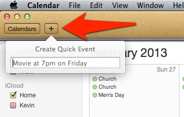 Calendar Events toolbar