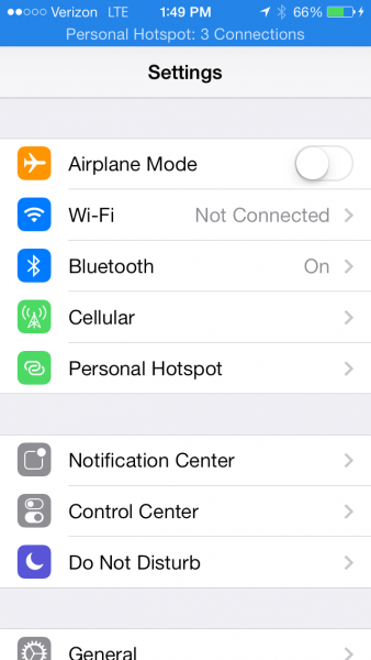 Use personal hotspot on iPhone.