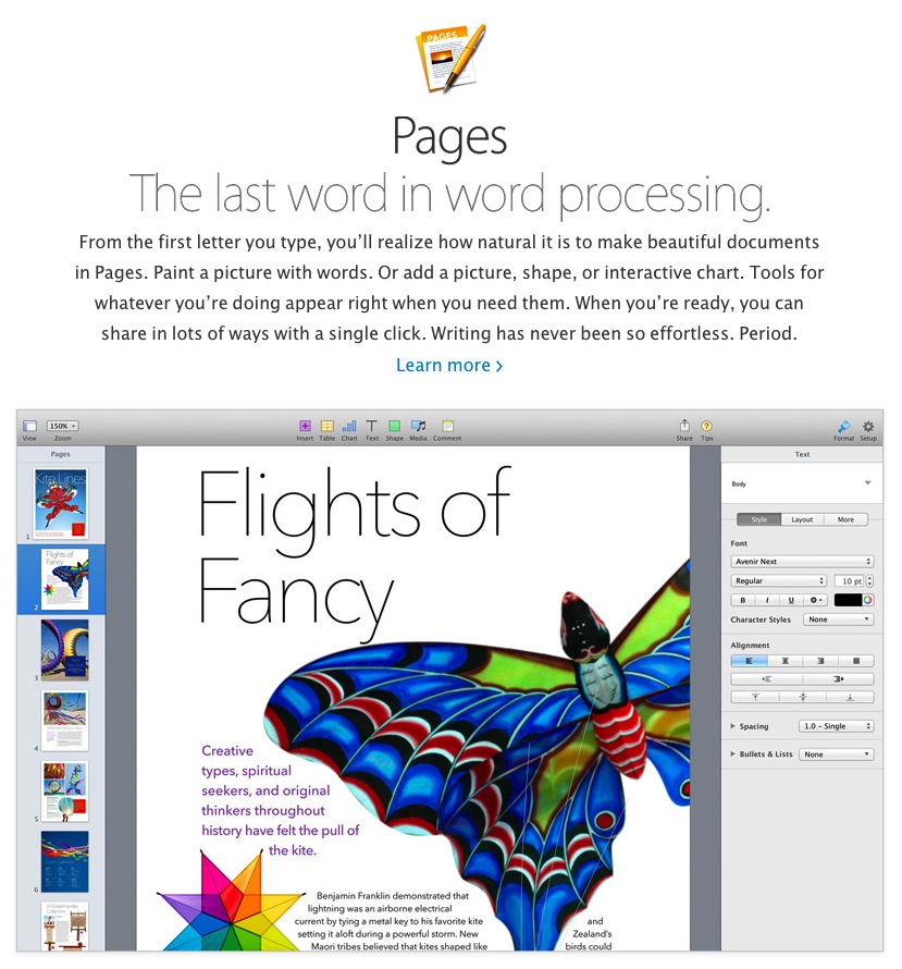 iWork Update Removes Key Features from Pages, Numbers and Keynote