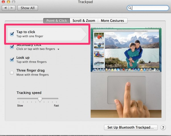 osx tap to click setting