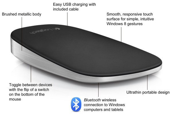 logitech touch mouse t630 features