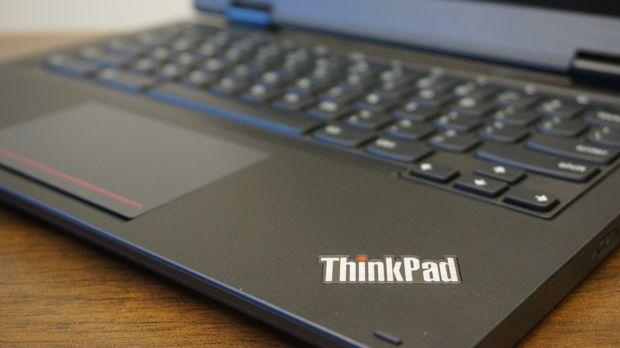 lenovo thinkpad yoga 11e chromebook with lit up icon