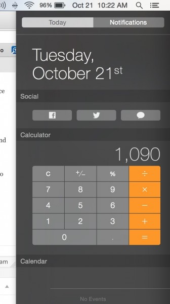 notification calculator in yosemite