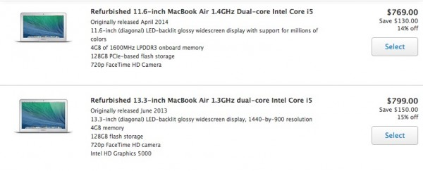 Apple offers the 11-inch and 13-inch MacBook Air deals with models from 2013 and 2014.