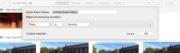 smart albums dialog box in photos