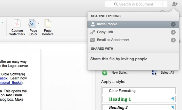 share documents inside office 2016 for mac programs