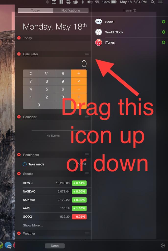 reorder widgets using the hamburger icon