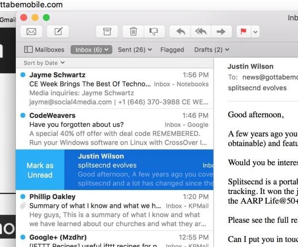 mail gestures swipe for mark unread