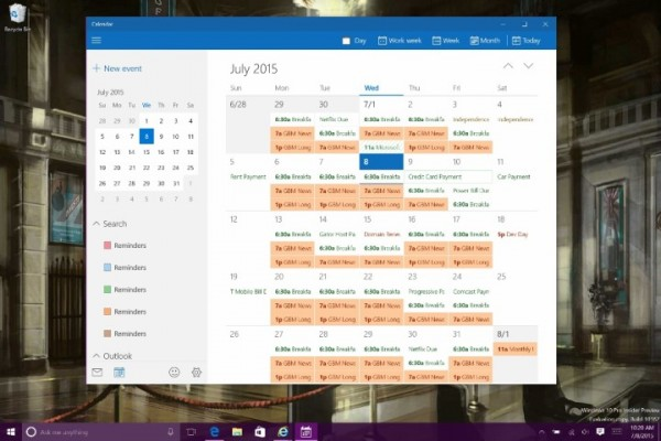 windows 10 calendar