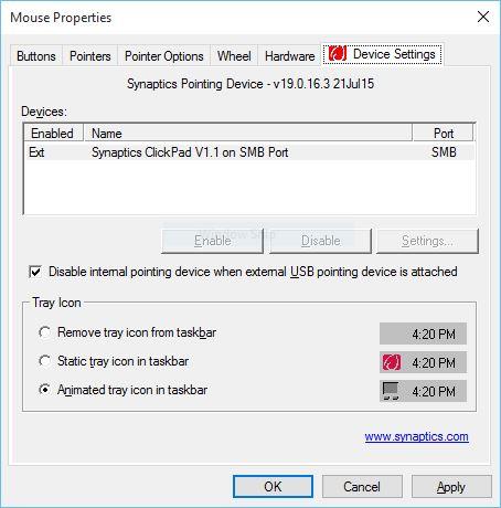 mouse settings dialog box