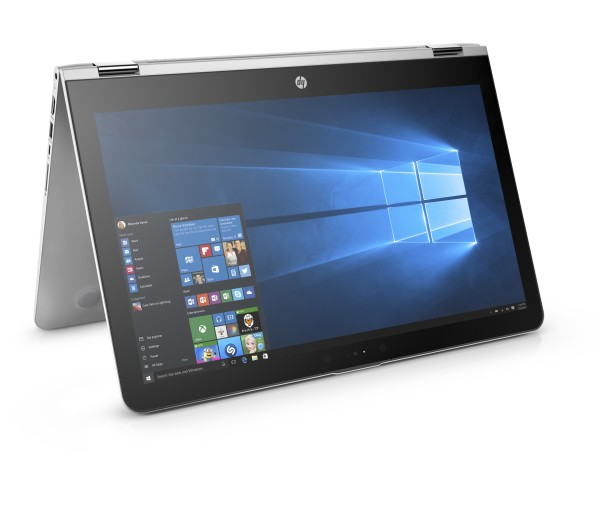 HP ENVY x360 15.6_Entertainment Mode, Front Right Facing