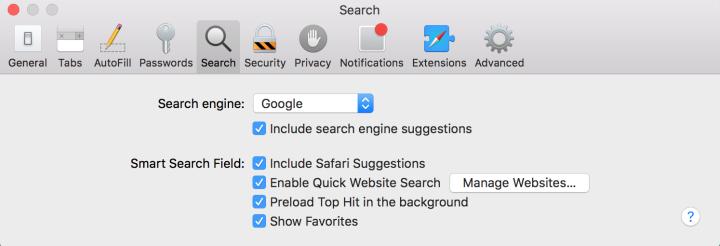 Google search in Safari.