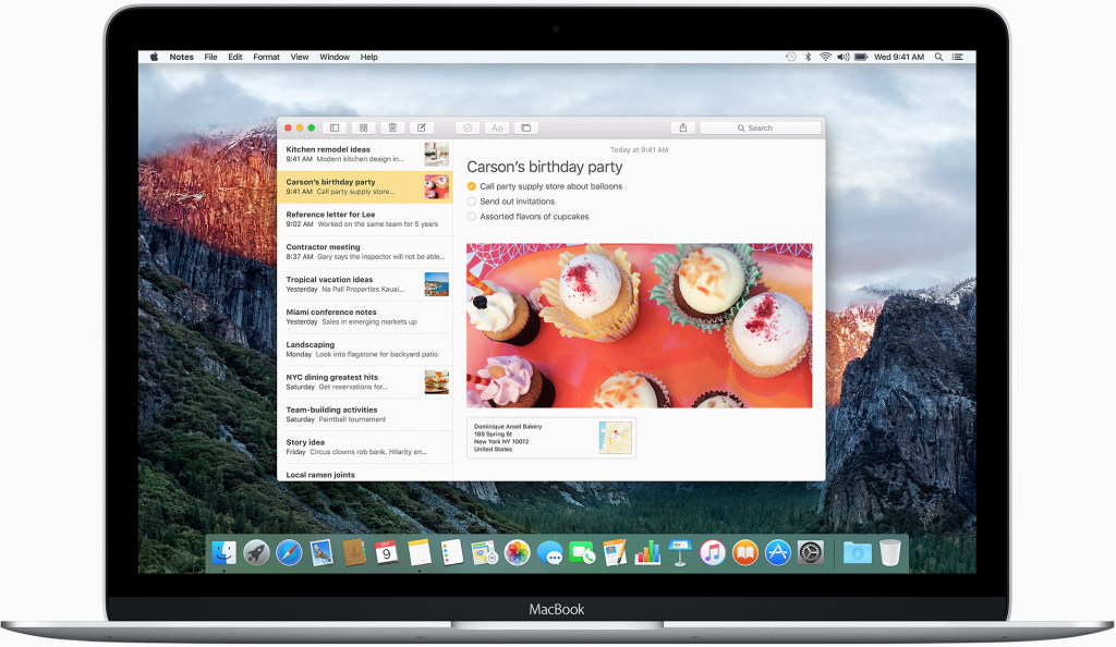 Notes in Mac OS X El Capitan