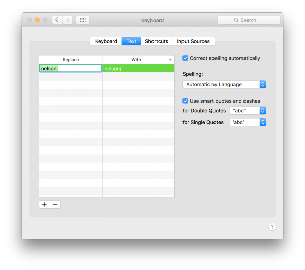 OS X Text Replacement
