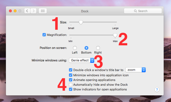 Dock Settings in OS X