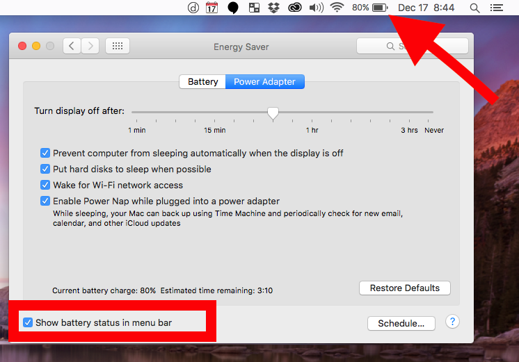 power saver settings os x