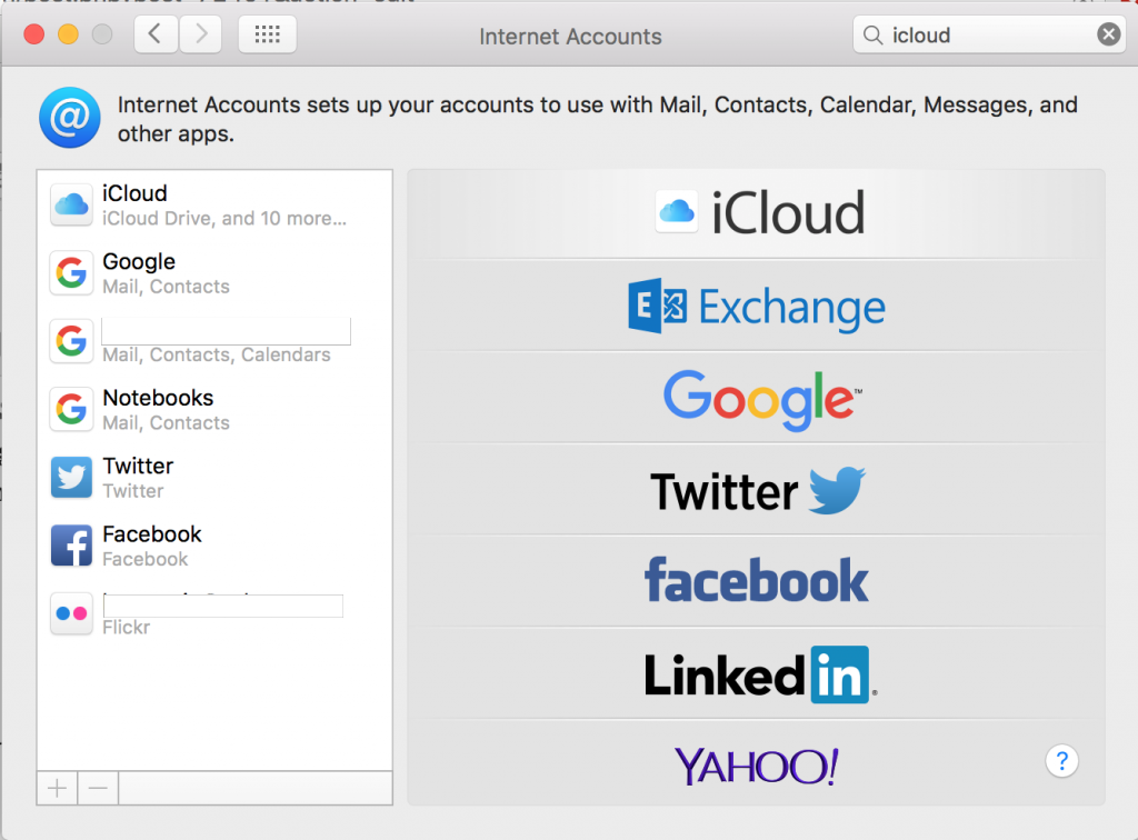 third-party internet accounts in settings