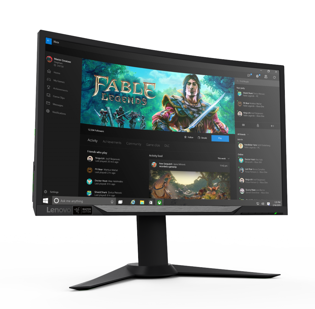 Lenovo Y27g RE Curved Gaming Monitor (front-angled with wallpaper)