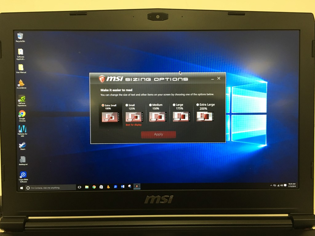 msi gs40 phantom display resolution sizing options