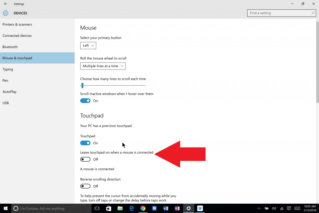Open All Settings from the Action Center and find this screen to turn off touchpad with a mouse attached.