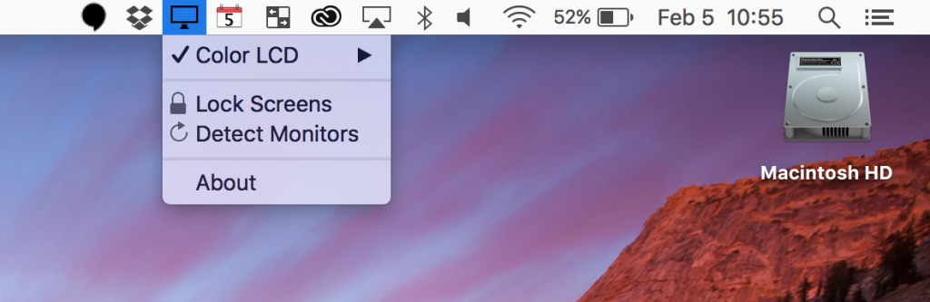 DisableMonitor running in osx menu bar