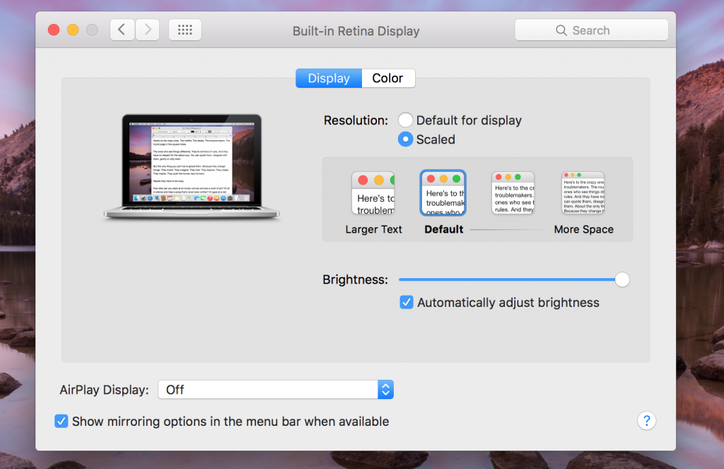 macbook screen resolution setting scaled