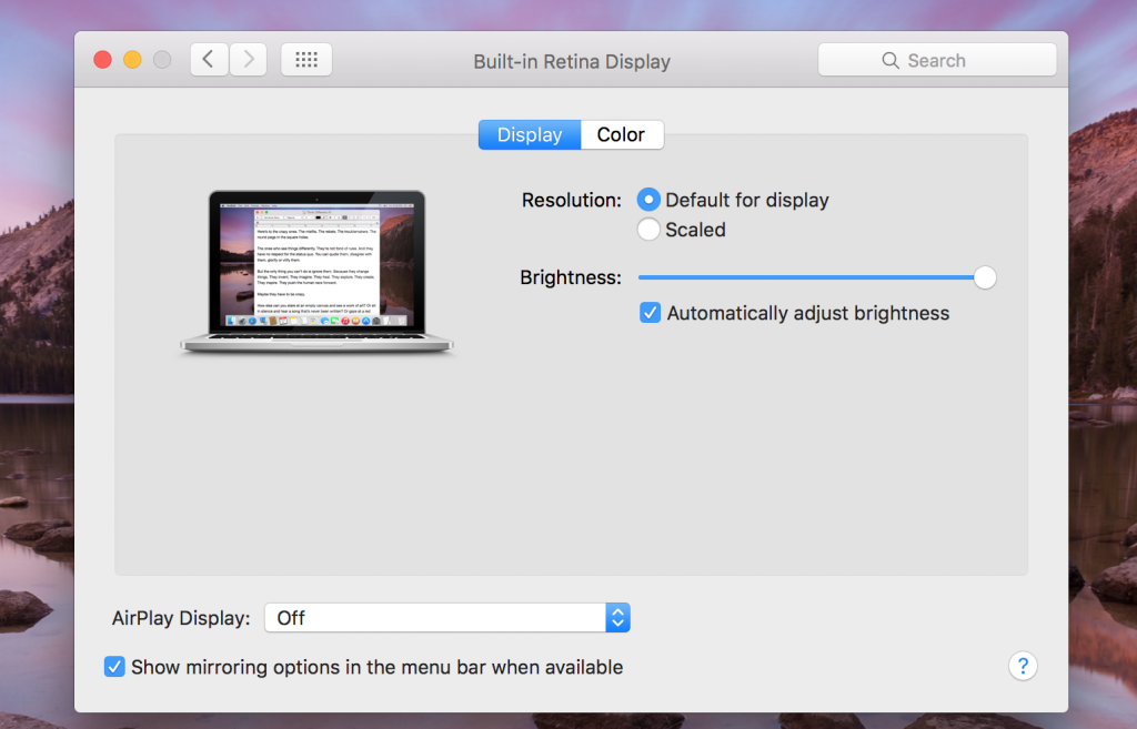 macbook screen resolution settings