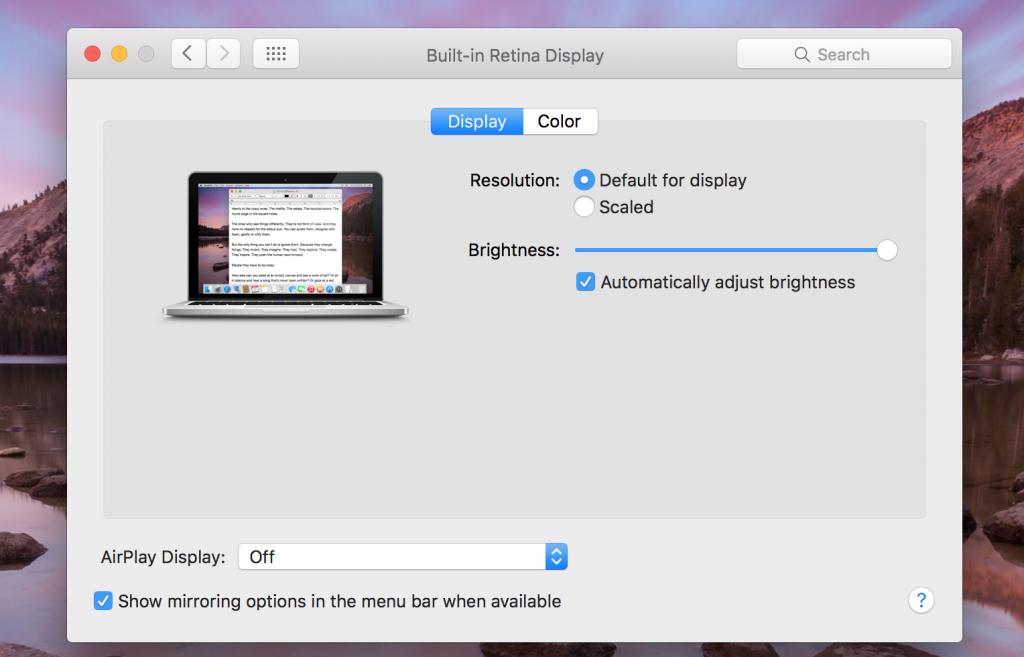 macbook screen resolution settings