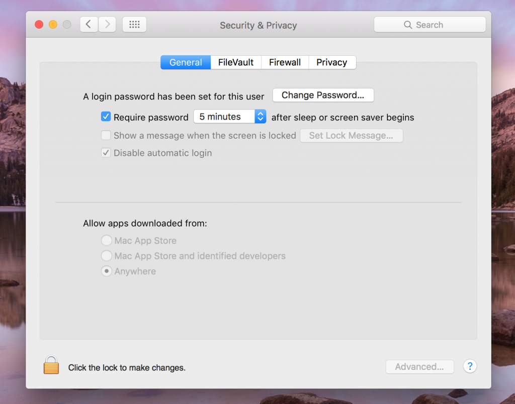 security and privacy settings on osx